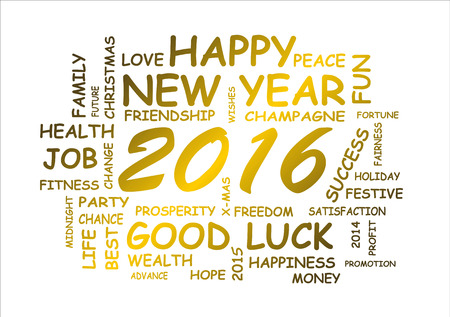 新年あけましておめでとうございます 2016年のための単語の雲 写真素材