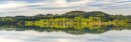panorama landscape with lake and alps mountains in Bavaria, Germany