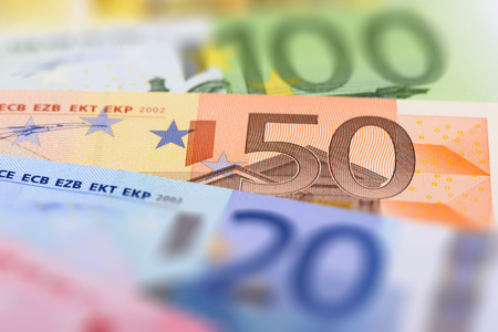 stack of papers: banknotes of euro currency