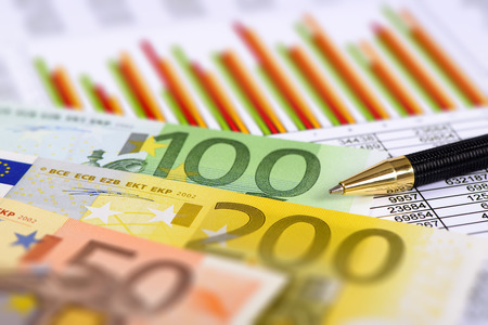 stock market: financial chart and Euro currency Stock Photo