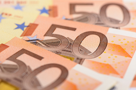 money symbol: banknotes of euro currency
