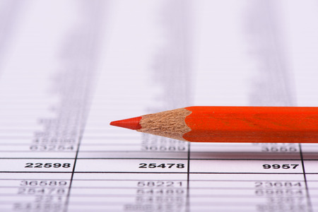 red pencil: financial chart with red pencil