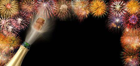 star sky: border with fireworks