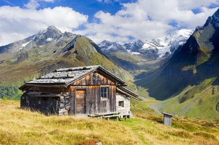 alpine farm hut in south tyrol alps mountains