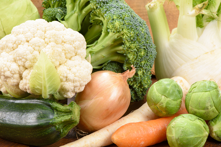 fresh vegetables and fruits Stock Photo