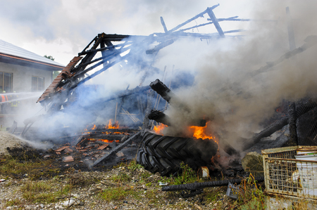 farm house: destroyed farm house by fire in Germnay Stock Photo
