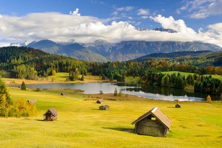 panorama landscape in Bavaria, Germany, with alps mountains and lake at autumn Stock Photo