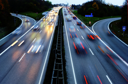 autobahn: cars on highway Autobahn in Germany in high speed at night