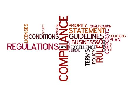 compliance: Word cloud for compliance, rules and regulations