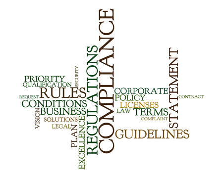 regulation: Word cloud for compliance, rules and regulations