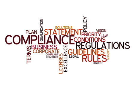 regulations: Word cloud for compliance, rules and regulations