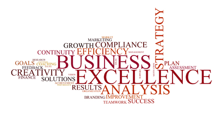 brand activity: word cloud for business, analysis, strategie and excellence