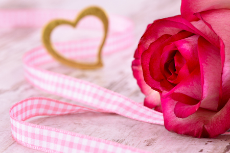 mothersday: Valentines day in romance with rose and heart as symbol for love Stock Photo