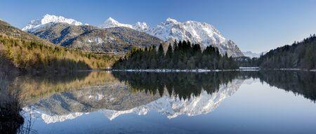 mirroring: panorama landscape in Bavaria with mountains mirroring in lake
