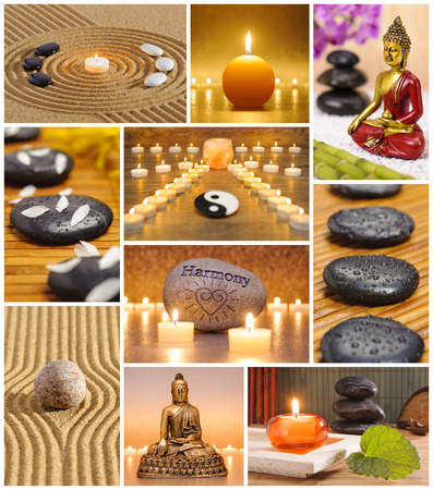 raked: Collage of japanese zen garden with stones, candles and raked sand