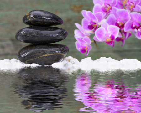 mirroring: Zen garden with mirroring and reflection in water Stock Photo