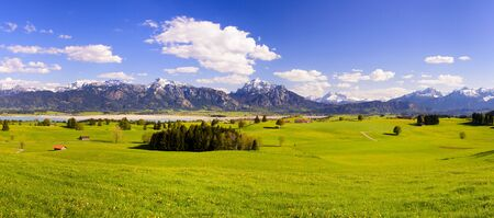 tree  forest: Panorama landscape in Bavaria with scene at alps mountains Stock Photo