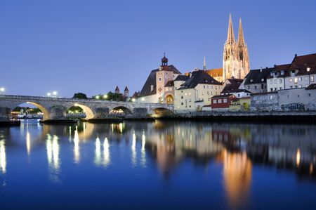 regensburg: panorama of old town Regensburg with river Danube