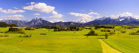 landscape: Panorama landscape in Bavaria with scene at alps mountains Stock Photo