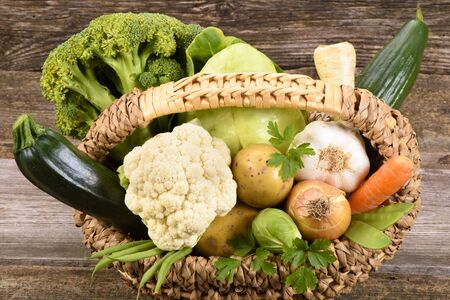 produces: fresh vegetables and fruits from farmer´s market Stock Photo