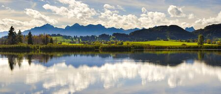 water  panoramic: panorama landscape in Bavaria with lake and mountains