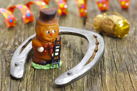 talisman: horse shoeand marzipan chimney sweeper as talisman for new years 2017