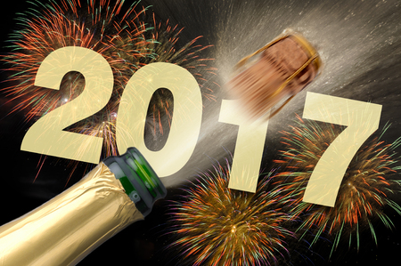 popping cork: popping champagne and fireworks at new years eve 2017