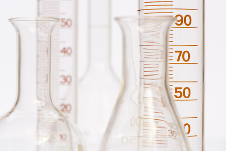 cristaleria: chemistry laboratory with glassware and test tubes Foto de archivo