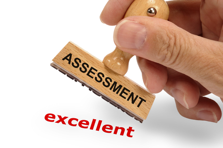 assessment excellent printed with stamp Stock Photo