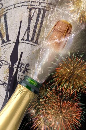 popping the cork: bottle of champagne with popping cork at new years 2017