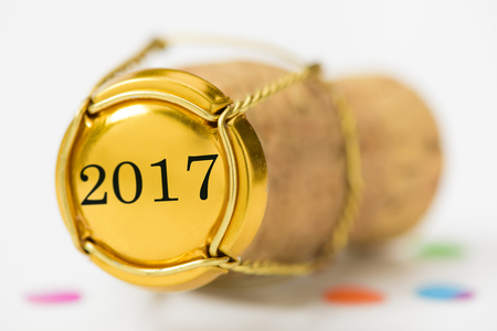 cork of champagne with year date 2017