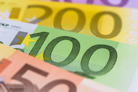 valuta: many different Euro banknotes Stock Photo