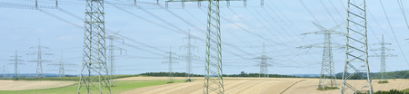 panoramics: panorama of many electric pylons for power supply