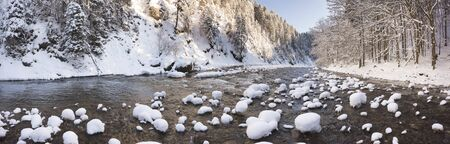 cascade: panorama scene with ice and snow at river in Bavaria, Germany