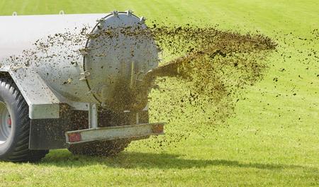 fertilization with liquid manure in Bavaria, Germany Standard-Bild