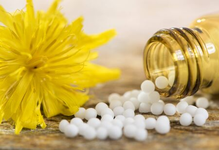 alternative medicine with homeopathic and herbal pills Stock Photo