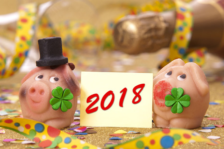 marzipan lucky charm for new year 2018 Stock Photo