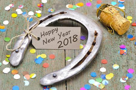 ferro di cavallo come talismano per buona fortuna al nuovo anno 2018 Archivio Fotografico