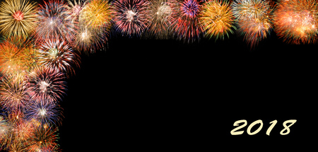 fireworks at silvester and new years eve 2018 with border and copy space
