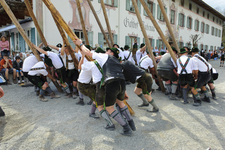 In many villages of Bavaria it is an historical customs to erect a high and decorated tree at 1. May by local men and with muscle power, clothed in traditional bavarian dress with short leather trousers and white shirts. After erecting the tree, men and w
