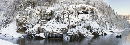 panorama scene with ice and snow at river Ammer in Bavaria, Germany