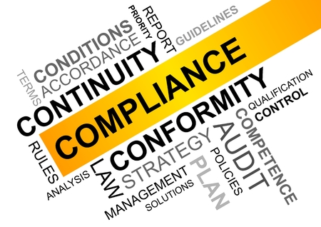 wordcloud for compliance in business with continuity and conformity Banque d'images - 104937955