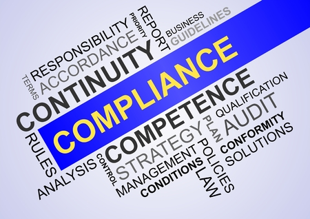wordcloud for compliance in business with continuity and conformity Banque d'images - 104593210