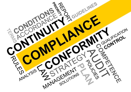 wordcloud for compliance in business with continuity and conformity Banque d'images - 104593215