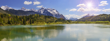 wide angle view to Karwendel alps mountain range mirroring in lake of river Isar in Bavaria Stock fotó