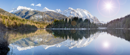 wide angle view to Karwendel alps mountain range mirroring in lake of river Isar in Bavaria Stock Photo