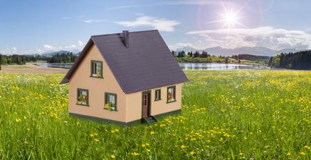 model house in beautiful landscape