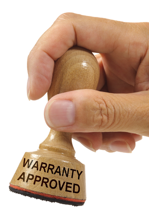 Warranty printed on rubber stamp