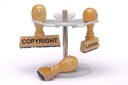 Copyright y legal impreso en sello de caucho