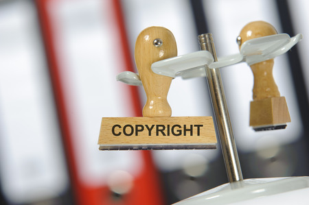 copyright printed on rubber stamp Foto de archivo
